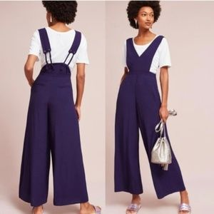 Anthro Maeve Souxanne Purple Apron Jumpsuit